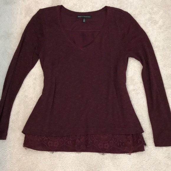 WHBM L wine color v-Neck sweater w lace trim. M 5aa564f750687ca941c97120.  Other Sweaters ... 826459e8c